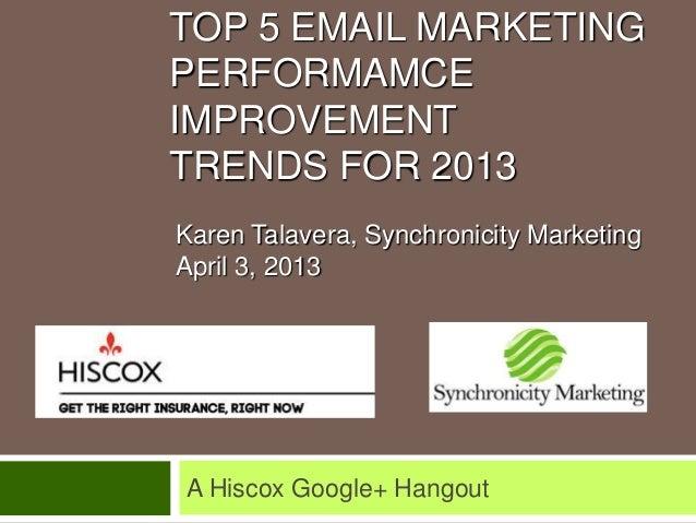 TOP 5 EMAIL MARKETINGPERFORMAMCEIMPROVEMENTTRENDS FOR 2013A Hiscox Google+ HangoutKaren Talavera, Synchronicity MarketingA...