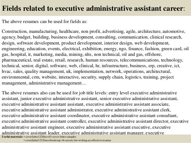 Cover Letter For Administrative Officer Resume Resource Executive Assistant  Resume Examples Administrative Assistant Resume Cover Letter  Executive Administrative Assistant Resume