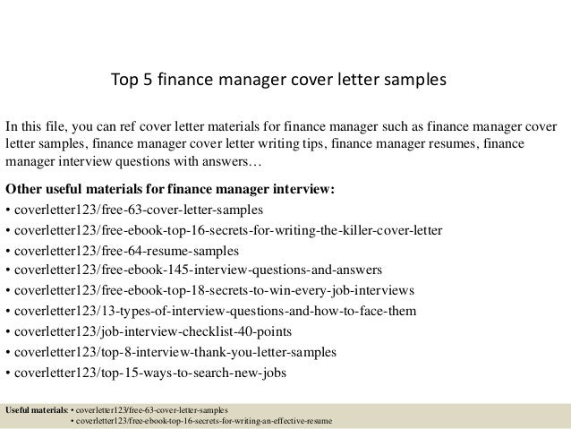 Top 5 finance manager cover letter samples