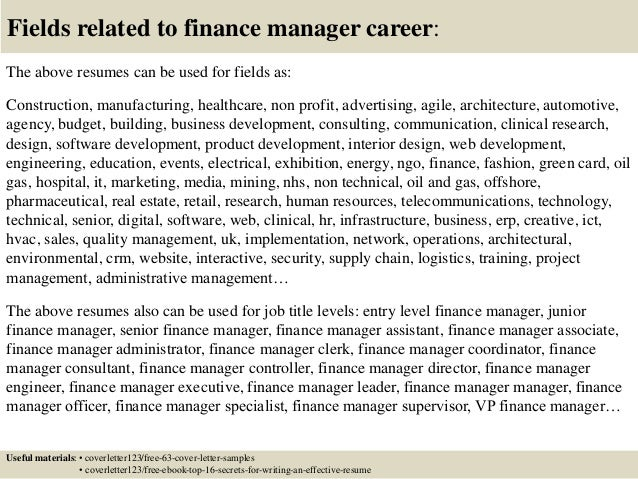 Cover letter sample finance manager