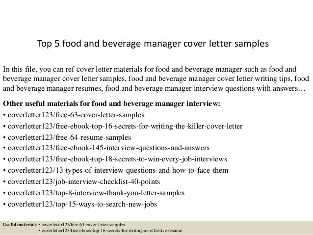 top 5 food and beverage manager cover letter sles
