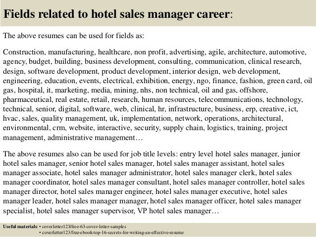 Hotel Sales Resume Cover Letter