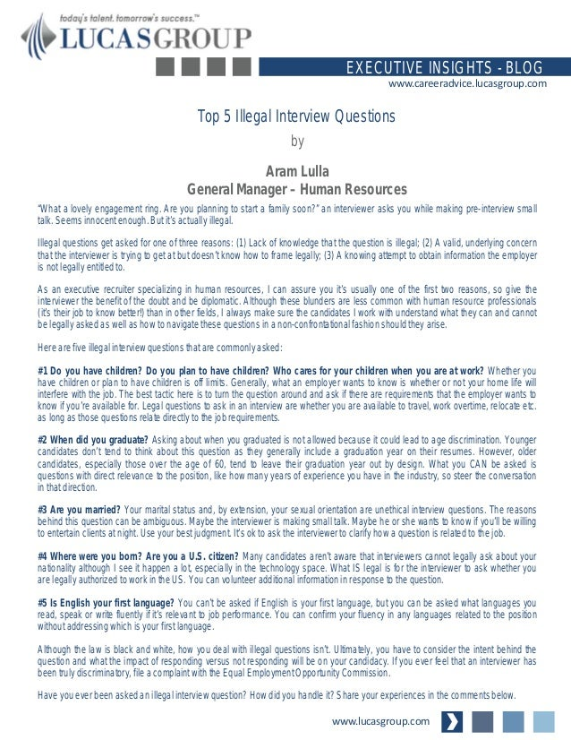 Top 5 Illegal Interview Questions
