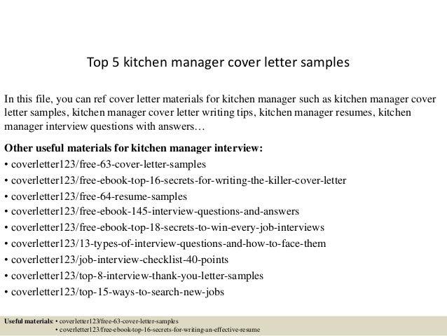Kitchen Coordinator Cover Letter