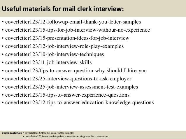 Top 5 mail clerk cover letter samples