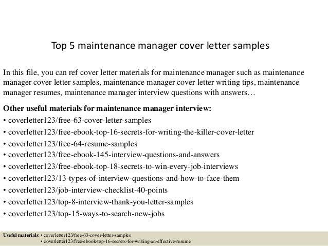Sample cover letter maintenance supervisor