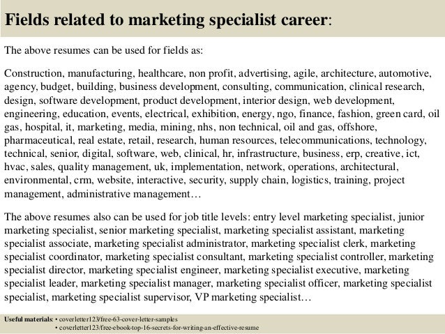 top 5 marketing specialist cover letter samples