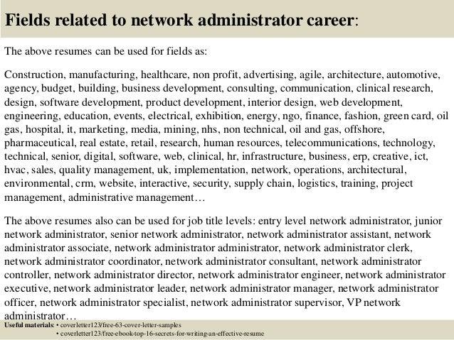 Top 5 network administrator cover letter samples