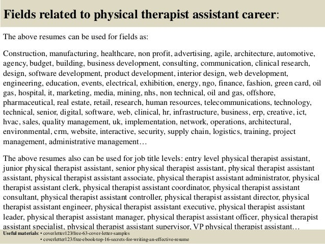 physical therapy assistant sample cover letter
