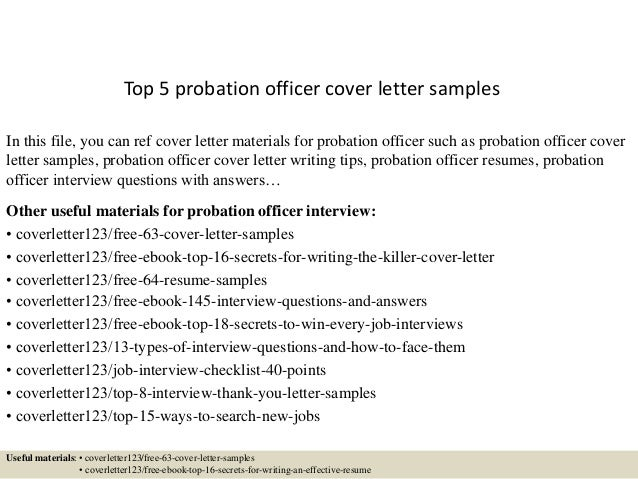 Top 5 Probation Officer Cover Letter Samples