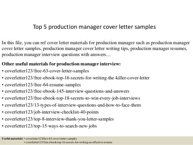 top 5 production manager cover letter samples product