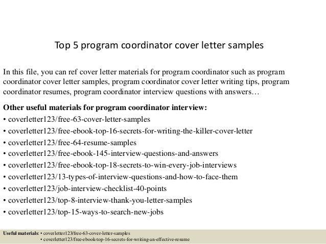 Top 5 Program Coordinator Cover Letter Samples