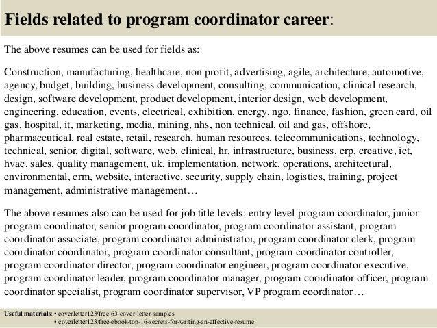 top program coordinator cover letter samples  16 fields related to program coordinator