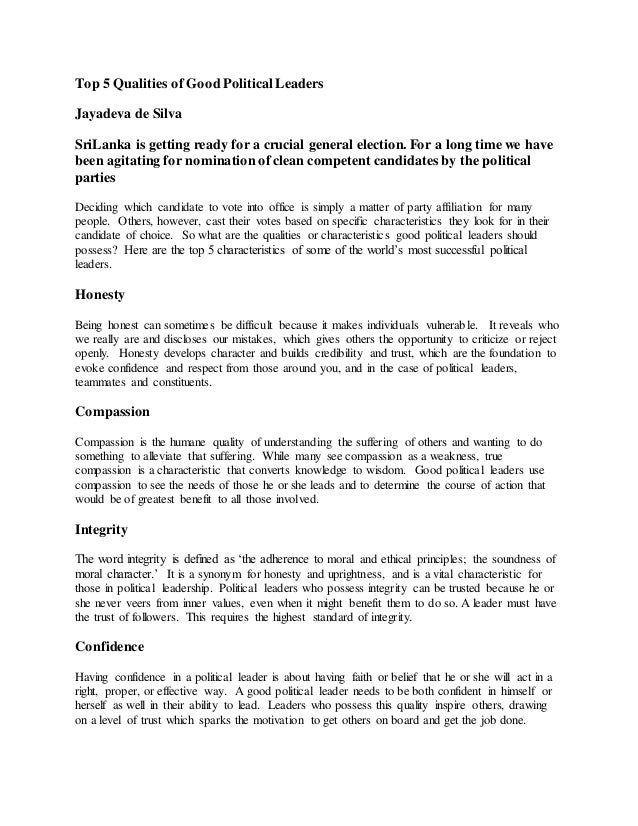 characteristic leader essay Essay on characteristics of a good leader abstract and management essay on explaining the most characteristic of a wide variety of a good leader establishes a.