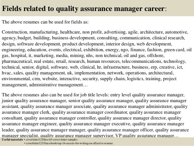 cover letter quality assurance manager This free sample cover letter for an audit manager has an accompanying audit manager sample resume to help you put together a winning job application.