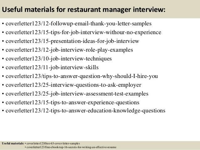 top  restaurant manager cover letter samples       useful materials for restaurant manager