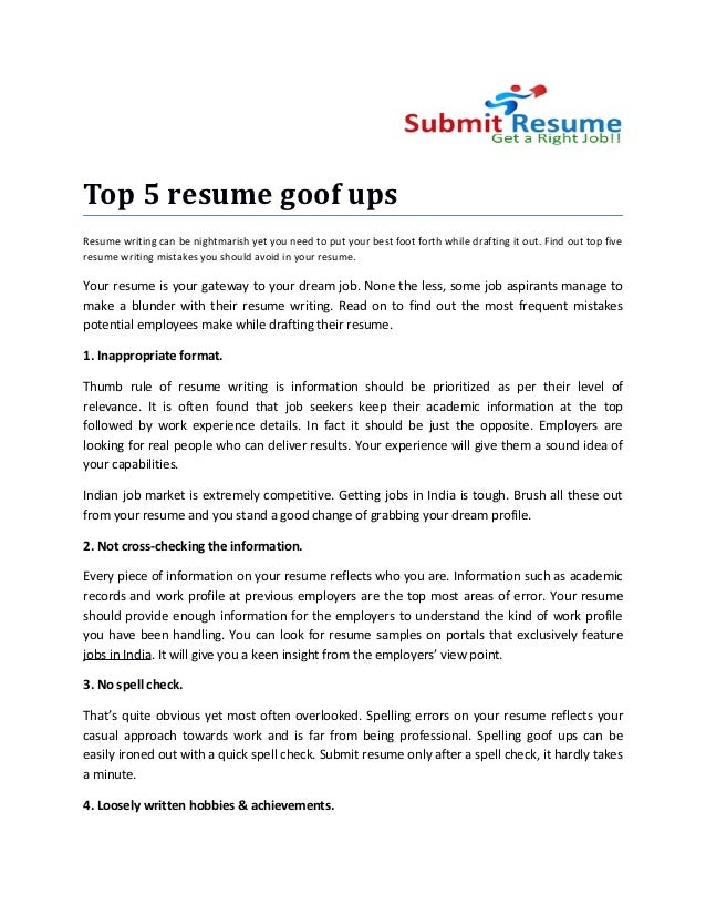 top 5 resume goof ups