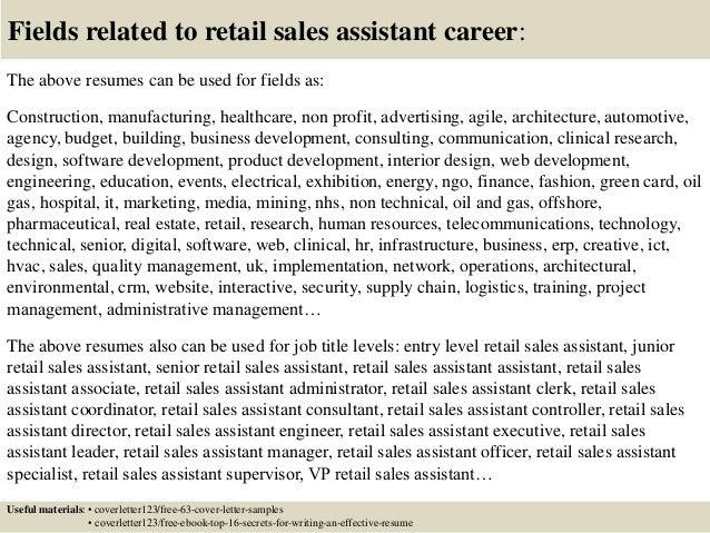 sample cv for sales assistant
