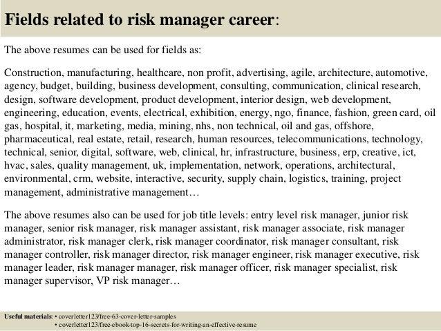 top 5 risk manager cover letter samples