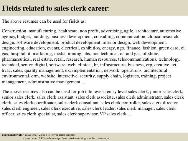 Top 5 sales clerk cover letter samples