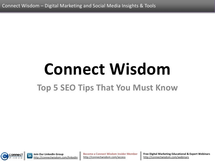 Top 5 SEO Tips That You Must Know