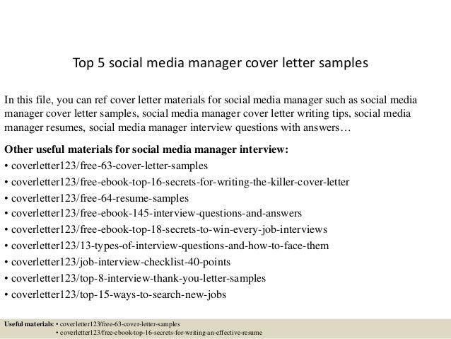 top 5 social media manager cover letter samples top 5 social media manager cover letter - Management Cover Letter