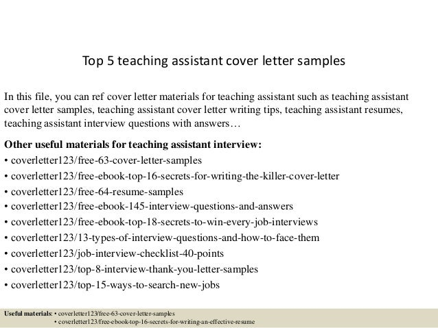 Top 5 teaching assistant cover letter samples for Cover letter for teacher assistant position with no experience