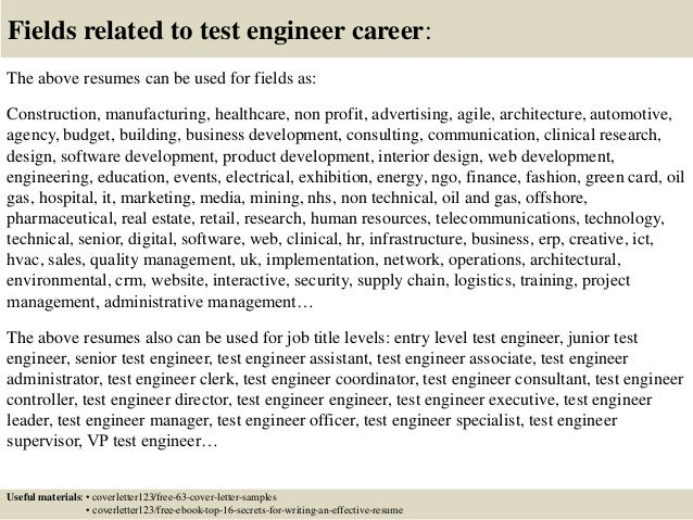 engineer cover letter top test engineer cover letter samples - Junior Test Engineer Sample Resume