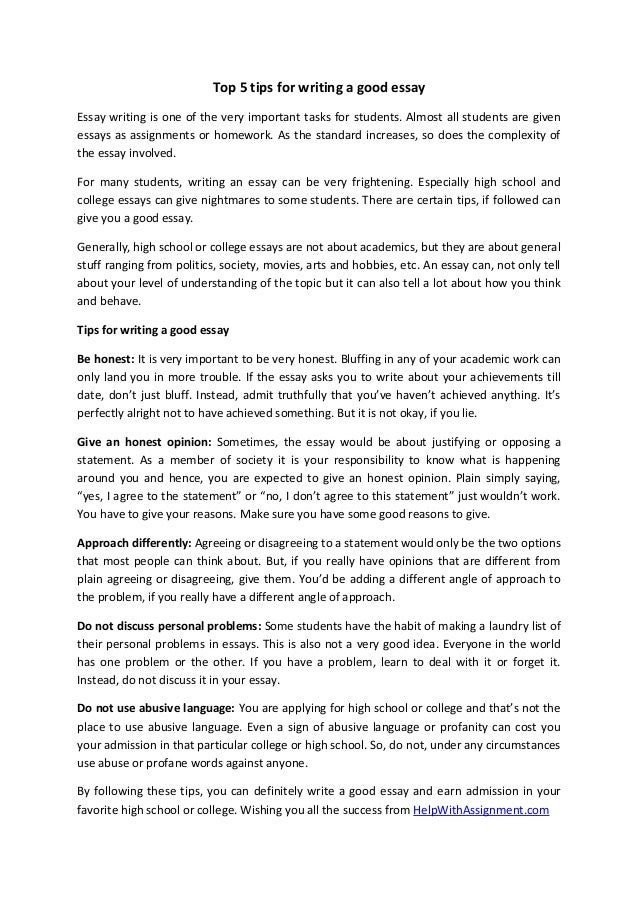 Top 5 tips for writing a good essay Essay writing is one of the very important tasks for students. Almost all students are...