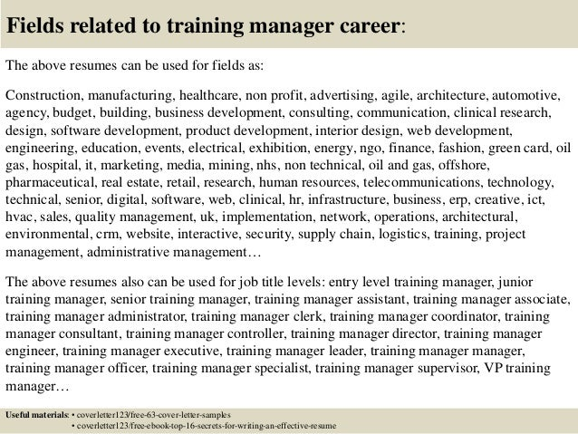 Sample training manager cover letter