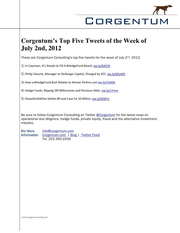 Corgentum's Top Five Tweets of the Week ofJuly 2nd, 2012These are Corgentum Consulting's top five tweets for the week of J...