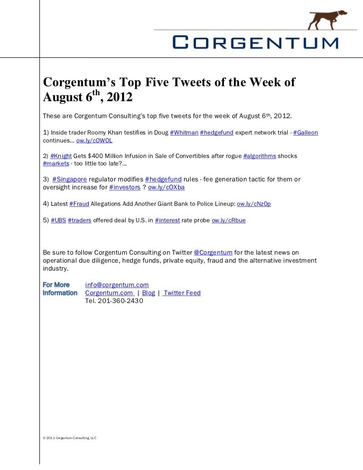Corgentum's Top Five Tweets of the Week ofAugust 6th, 2012These are Corgentum Consulting's top five tweets for the week of...
