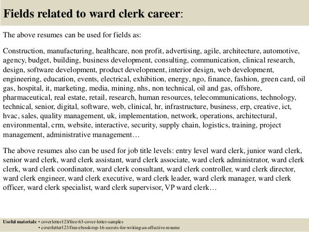Hospital Ward Clerk Cover Letter
