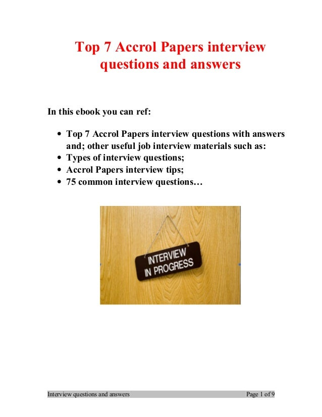 Top 7 Accrol Papers Interview Questions And Answers