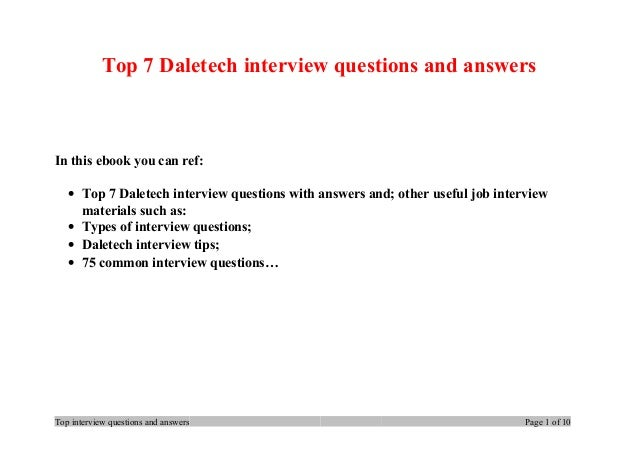 Top 7 Daletech interview questions and answers In this ebook you can ref: • Top 7 Daletech interview questions with answer...