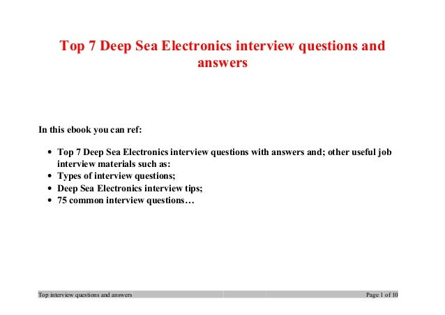Top 7 Deep Sea Electronics interview questions and answers In this ebook you can ref: • Top 7 Deep Sea Electronics intervi...