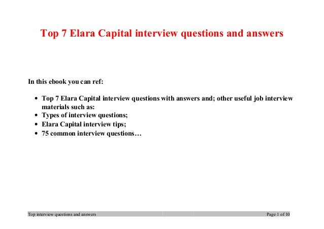 Top 7 Elara Capital interview questions and answers In this ebook you can ref: • Top 7 Elara Capital interview questions w...