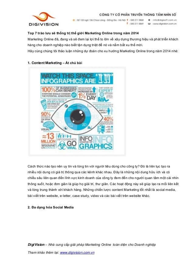 Top 7 trào lưu sẽ thống trị thế giới marketing online trong năm 2014