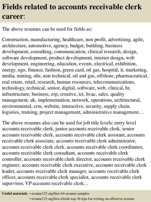 Top 8 Accounts Receivable Clerk Resume Samples