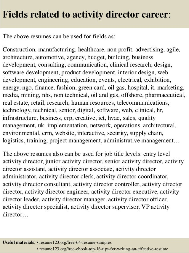 Top 8 activity director resume samples