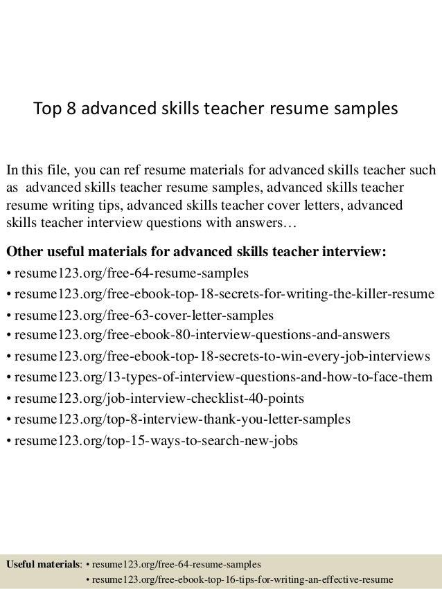 top  advanced skills teacher resume samplestop  advanced skills teacher resume samples in this file  you can ref resume materials