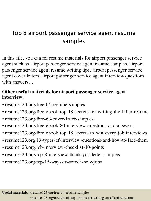 top 8 airport passenger service resume sles