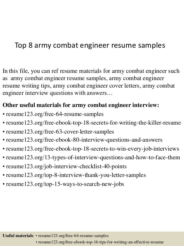 Combat Engineer Resume Top 8 army combat engineer resume samples In this file, you can ref resume materials ...