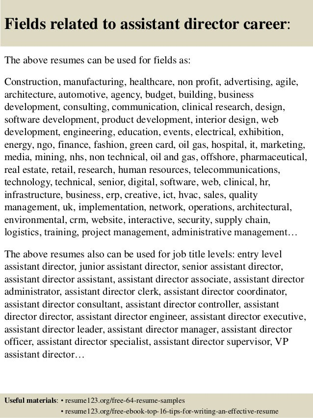 Resume for assistant director of admissions
