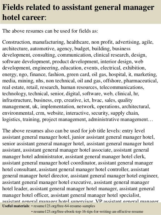 Top 8 Assistant General Manager Hotel Resume Samples