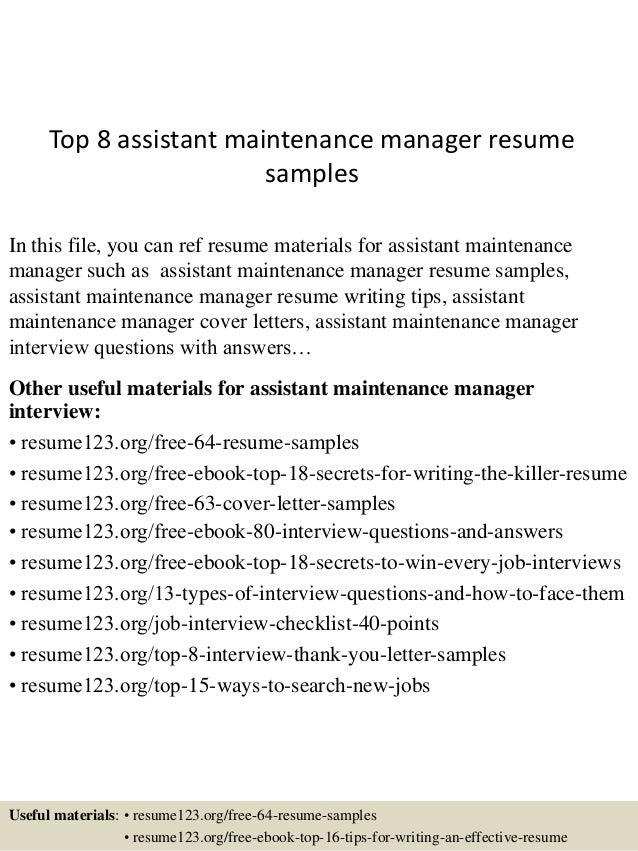 Top 8 assistant maintenance manager resume samples