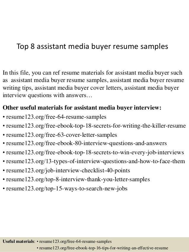 Top 8 assistant media buyer resume samples