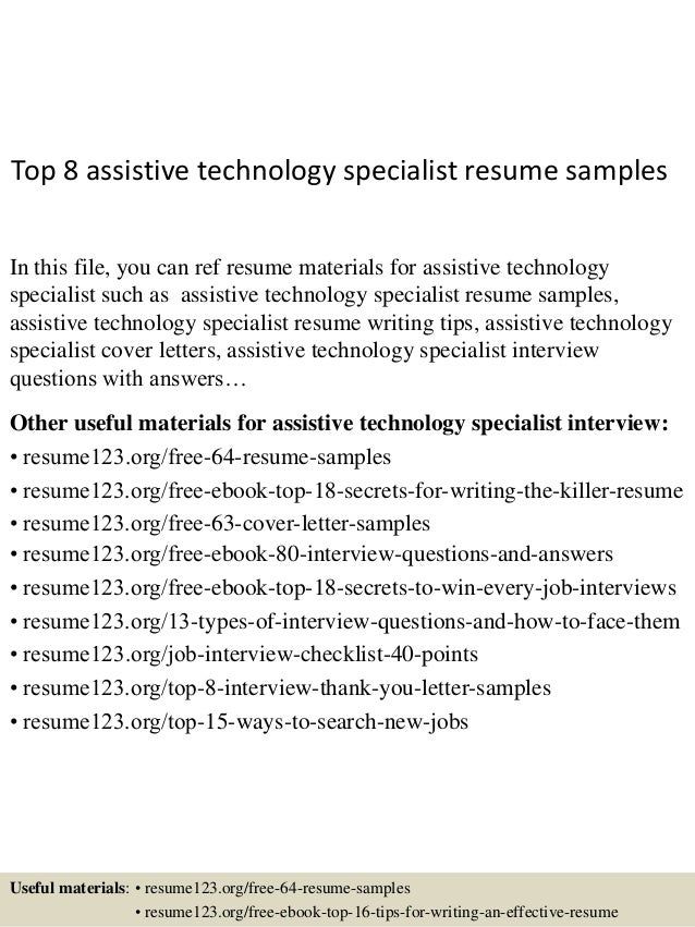 top 8 assistive technology specialist resume samplesin this file you