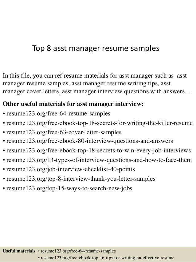 top 8 asst manager resume sles
