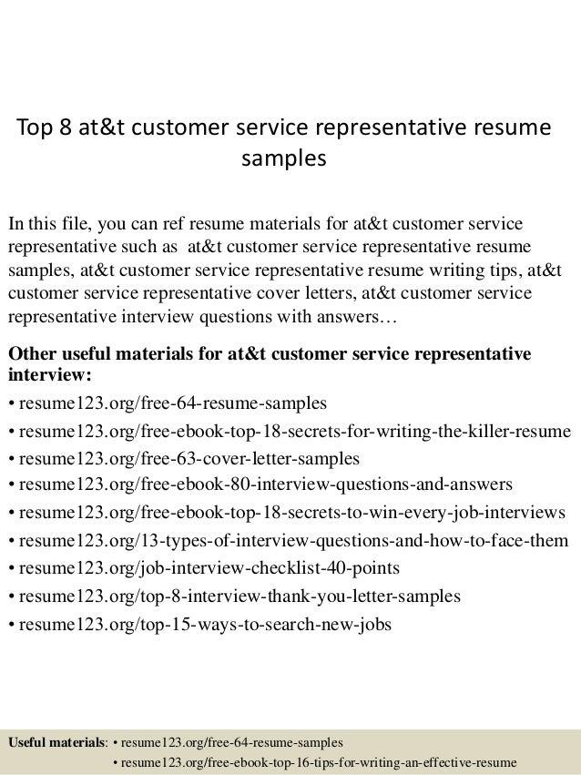 top 8 at t customer service representative resume sles